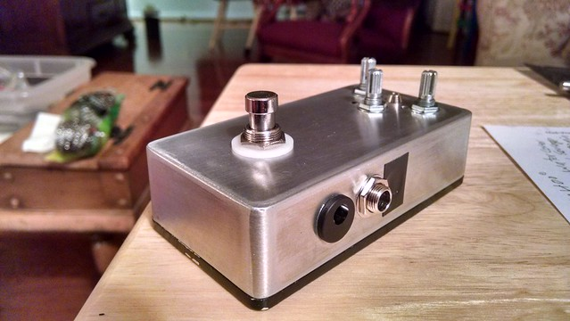Finished pedal (with electrical tape patches to cover badly placed in / out holes) 2