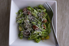 Baby spinach pesto with penne
