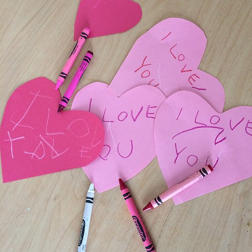 Making Valentines with my littlest love. ❤️��