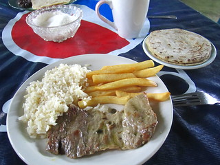 Alright for the price.  Beef, rice and chips.  San Felipe, Guatemala.