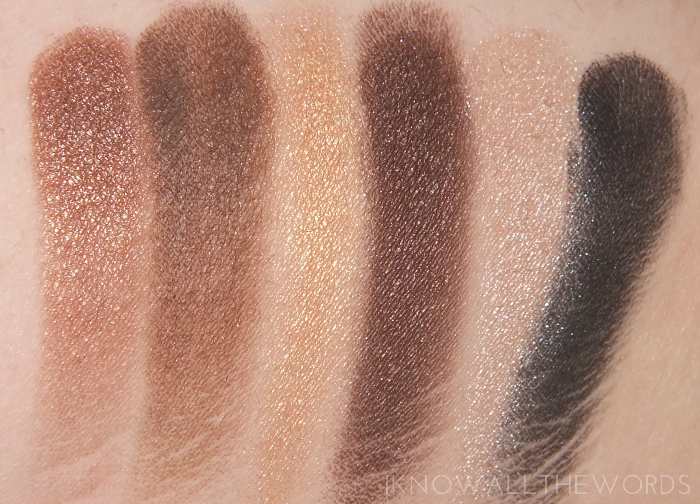 maybelline the nudes palette- bottom row swatches