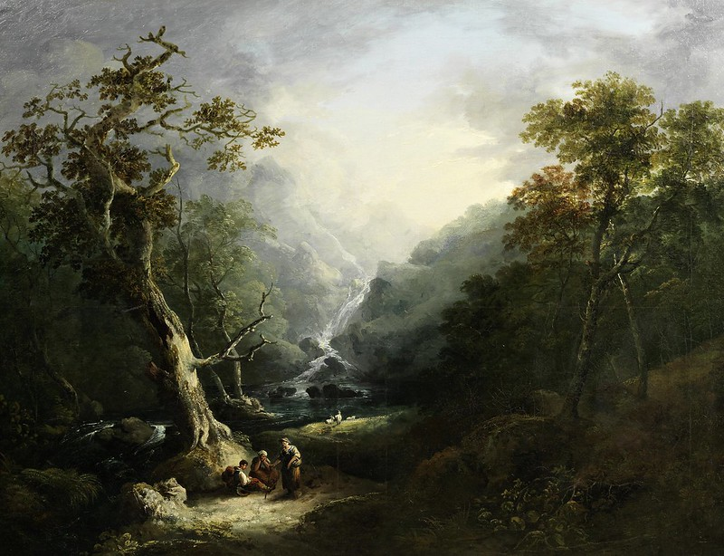 George Barrett - A wooded landscape with travellers resting before a waterfall