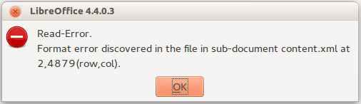 LibreOffice error message