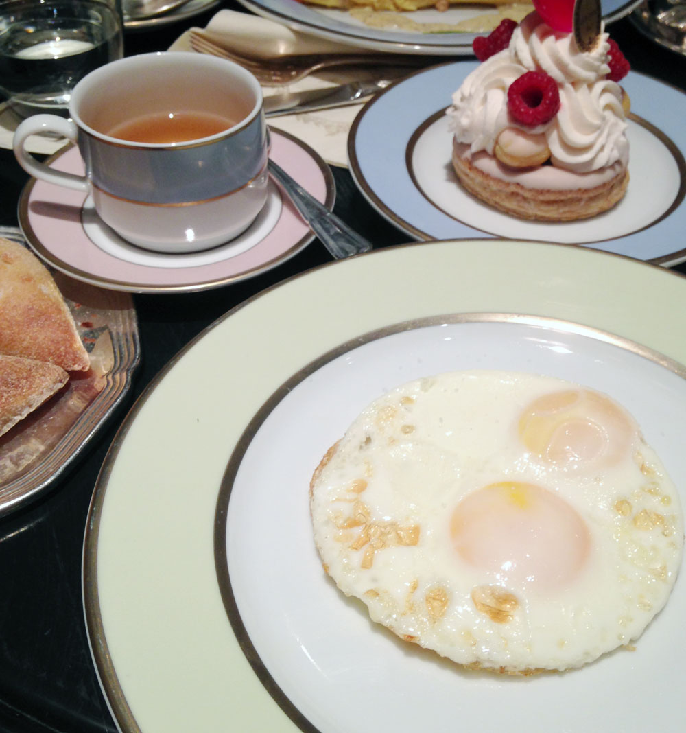 Laduree tea and eggs with Saint-Honoré Rose Framboise pastry