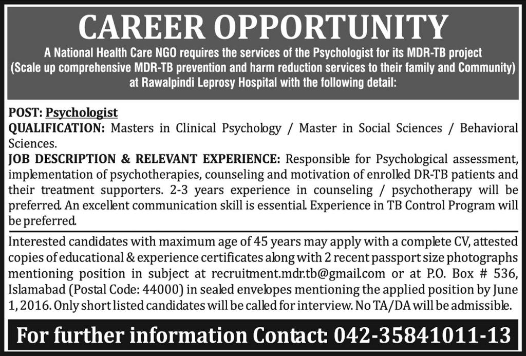 National Health Care NGO Career Opportunities
