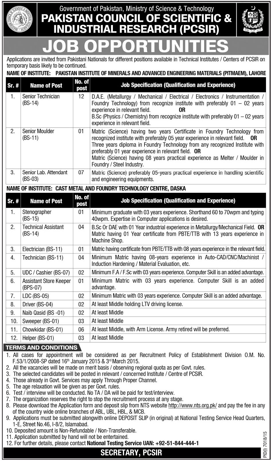 Pakistan Council of Scientific and Industrial Research Jobs