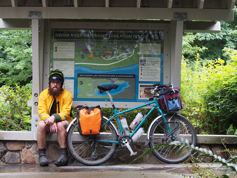 Neil and Beyond the Horizon at Cedar River Watershed Education Center: The 'outermost' point of my ride.