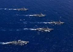 USS John Paul Jones (DDG 53), USS Shoup (DDG 86), JS Chokai (DDG 176), ROKS Sejung the Great (DDG 991) and ROKS Gang Gam Chan (DDH 979) maneuver into formation during exercise Pacific Dragon, June 25. (U.S. Navy/MC2 Siobhana R. McEwen)