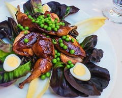 roasted quail with quail eggs, wild rice, peas, ra…