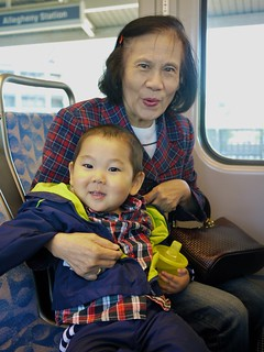 Riding on the train with grandma
