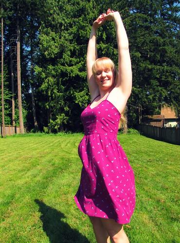 magenta dress stretch
