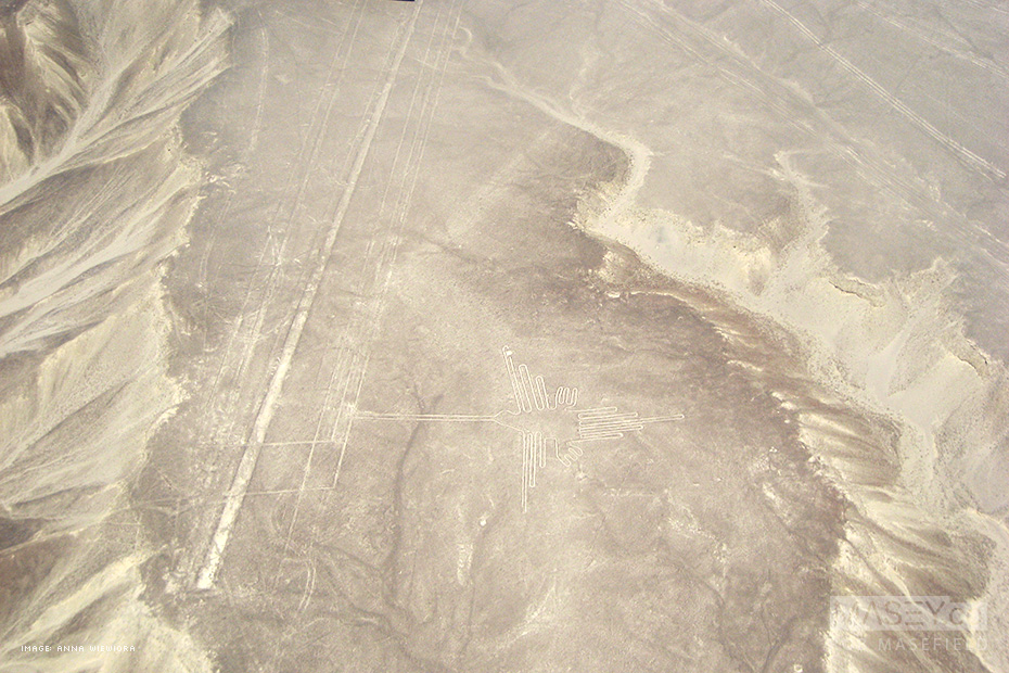 One of the most famous of the Nazca Lines - the 'Hummingbird'.