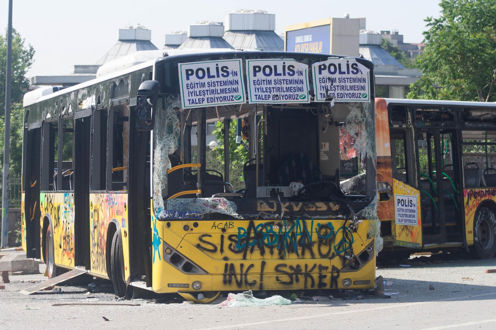 Bus barricade.