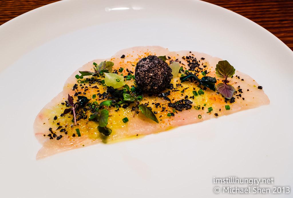 Black by Ezard Sashimi of Hiramasa kingfish, sesame custard, edamame puree, chardonnay & challot dressing