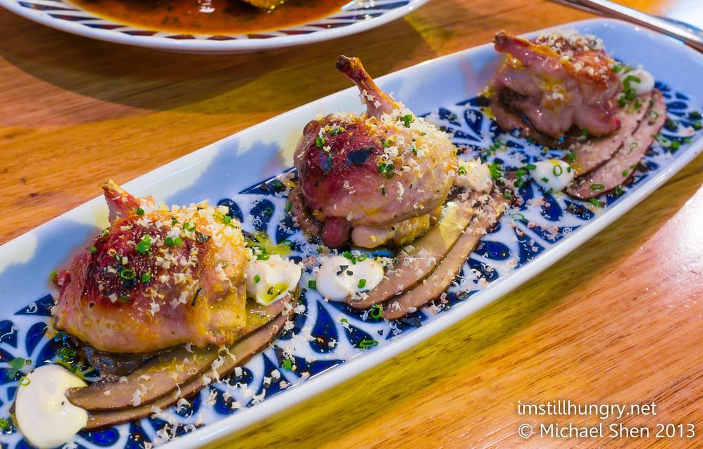 Codorniz rellenos - half quail filled w/chicken liver pate, served w/confit portobello mushrooms movida sydney