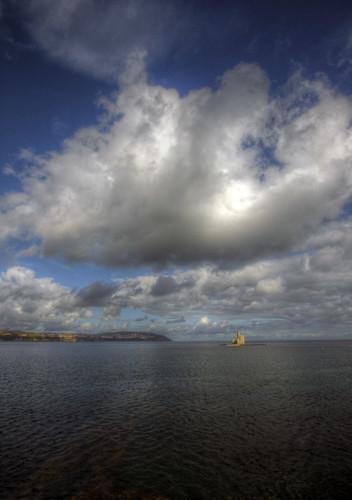 uk sea portrait sky man west castle clouds bay europe view britain sony great alpha fortress isle 580 a580