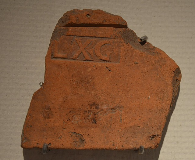 Rooftile stamp with the sign LXG, Legio X Gemina, 70-105 AD, found at the site of Forum Hadriani, Rijksmuseum van Oudheden, Leiden