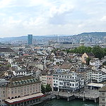 Zurich panorama from Grossmunster Karlsturm tower
