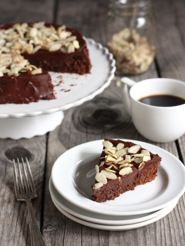 Chocolate Almond Cake, rich and decadent! completelydelicious.com