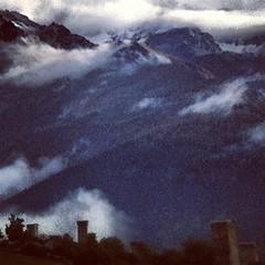 more Svan towers and a glance at the mountains beyond.  #svaneti #adventuregirls #4x4 #caucasus #kaukasus #georgia