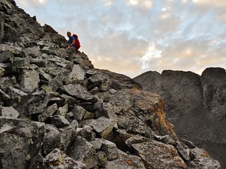 Doug Scrambling Up to SW Ridge of Ellingwood Point