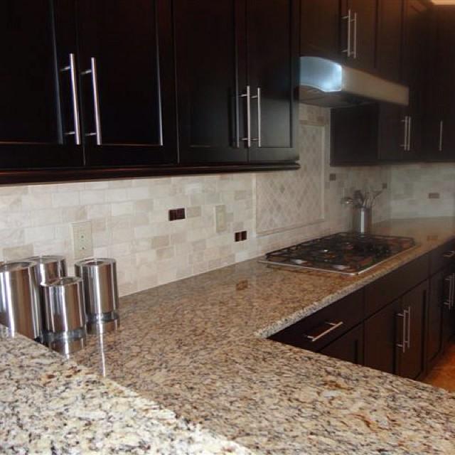 Travertine Kitchen Backsplash: Lutz, Florida Creme 2x4 Travertine Marble Brick Offset