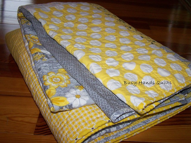 Gray and Yellow Full Size Brick Quilt