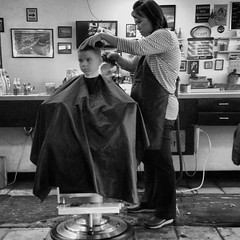 monochrome photography, monochrome, black-and-white, person, barber,