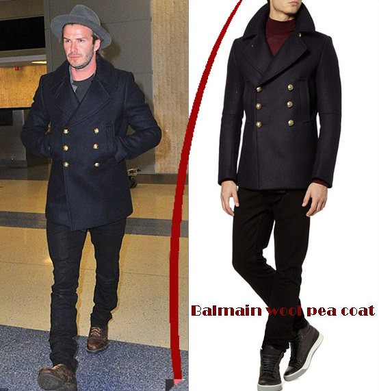 David Beckham in Balmain wool pea coat - Alwand -UK Fashion ...