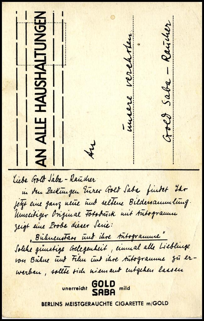 1929 Werbepostkarte Gold Saba Cigarette mit Hans Albers b