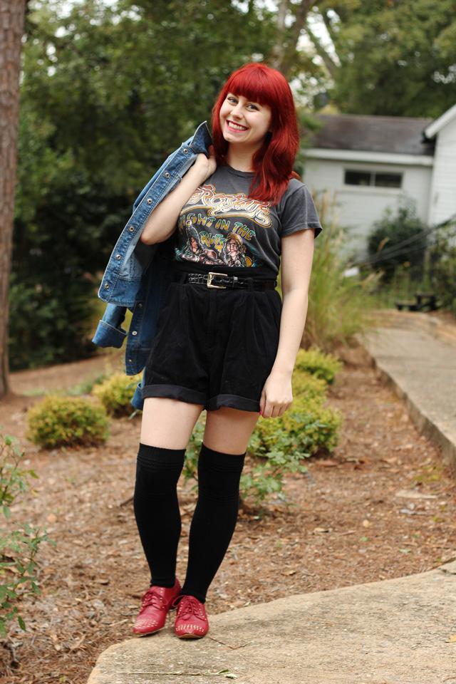 Corduroy Shorts Vintage T Shirt Knee Socks Amp A Jean Jacket