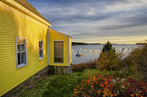 house fall yellow islands harbor maine oceanview stonington lobsterboats
