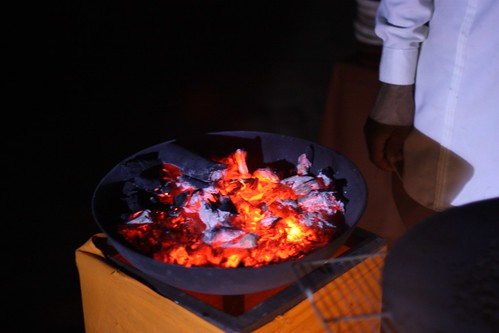 food was cooked on hot coals