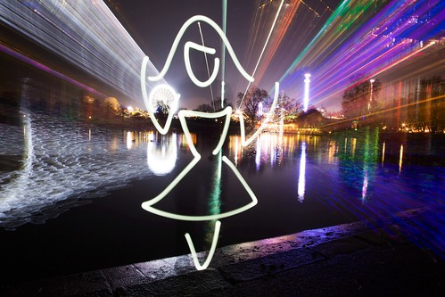 Super Human (All In Camera Light Painting), London Hyde Park by flatworldsedge