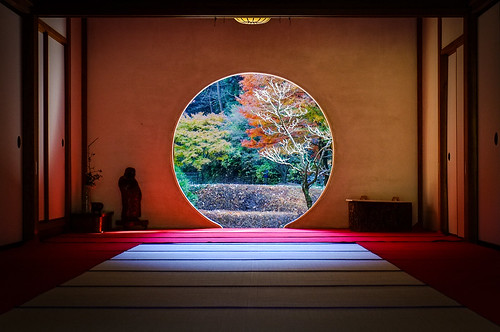 travel autumn trees window japan garden temple shrine asia day room buddhist kamakura picture buddhism clear zen round fujifilm scape kanagawa hydrangeas meigetsuin x100