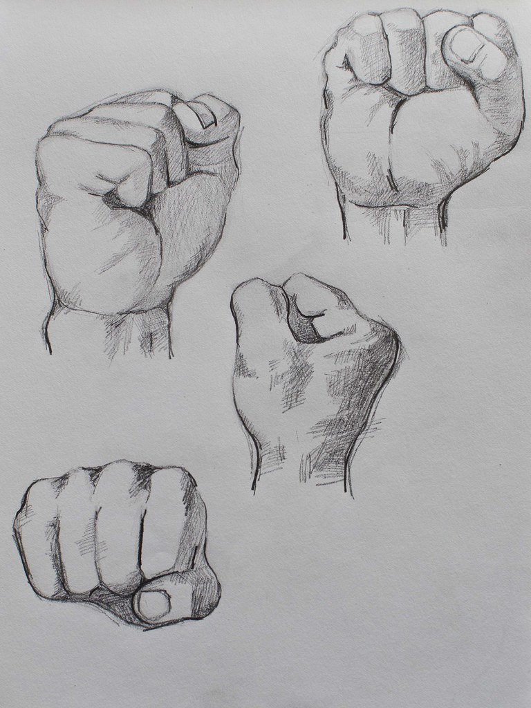 Drawing of the male fist