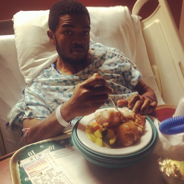 He's up and eating! The patient is on the mend!