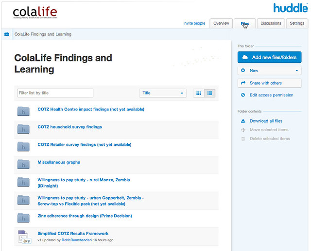 ColaLife Sharing Portal - Huddle