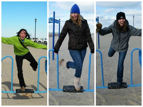 Playground capers, South Haven, Michigan - in winter!