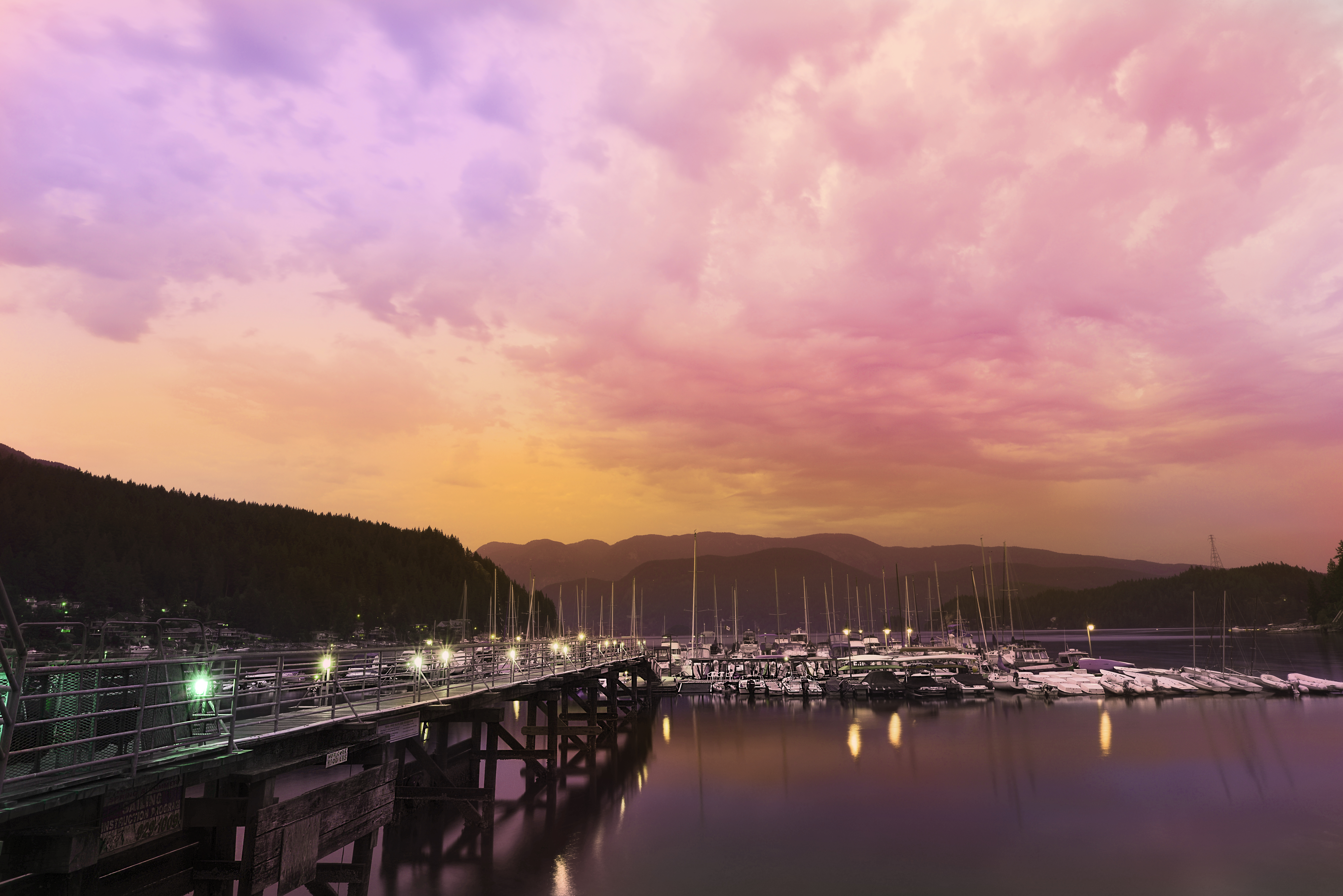 Travel Light Sunset Sky Seascape Color Colour Beautiful Weather Night Clouds Landscape Boats Pier Dock Nikon Deep Cove