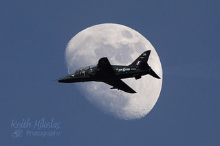 Hawk infront of moon, Mach loop, Wales