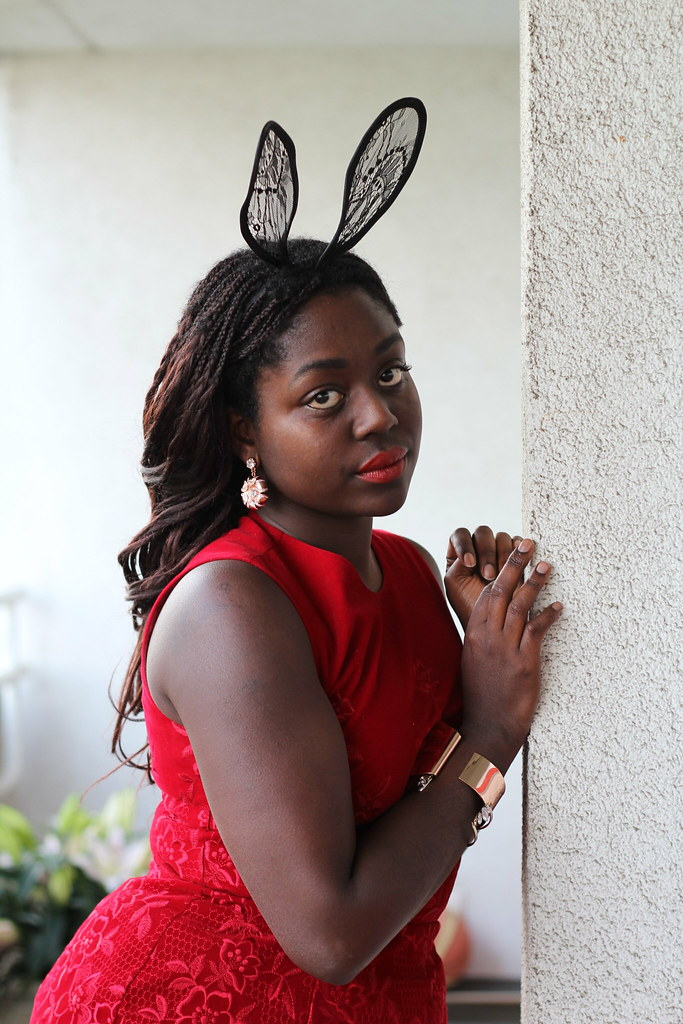 Red Dress Bunny Ears Lois Opoku lisforlois