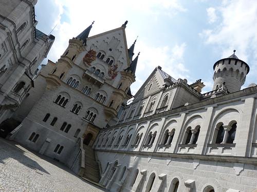 In the courtyard of Neuschwanstein