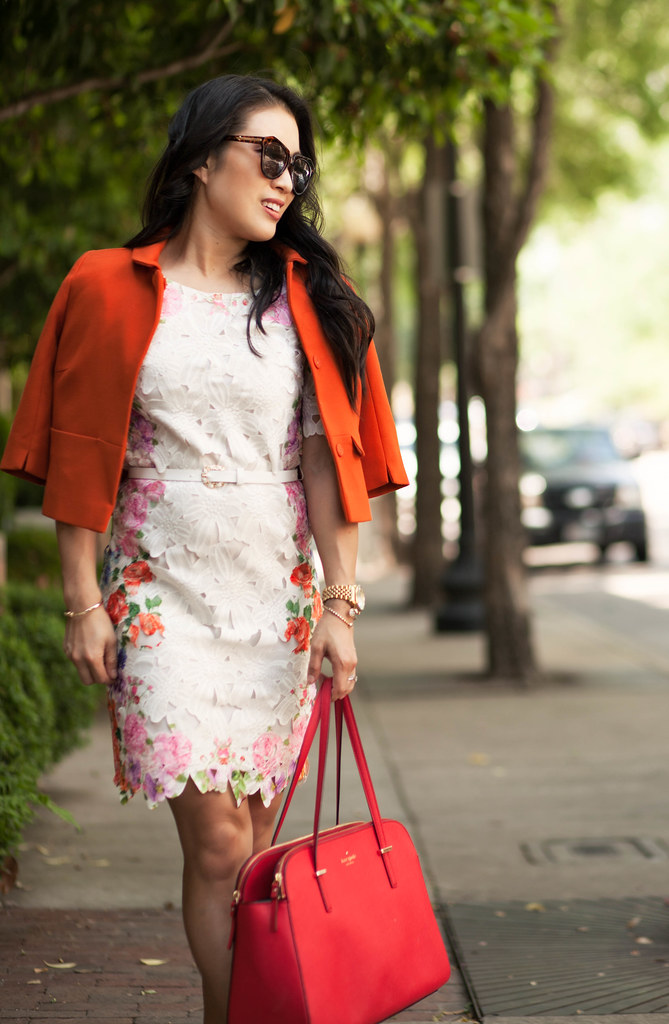 cute & little blog | petite fashion | orange swing blazer, choies floral cutout lace dress, kate spade red tote | spring outfit