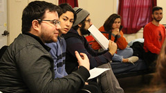 (From left) Ryan Cain of Edinburg, Texas, part of a contingent from the Rio Grande Valley, contributes a perspective at the Touchstone Bahá'í youth retreat in Texas earlier this year. Photo by Nicolai Valdivieso-Sinyako