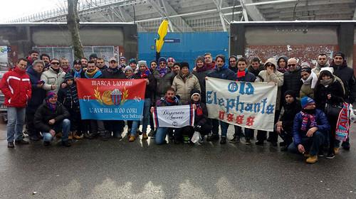I tifosi rossazzurri presenti al Braglia (Foto Nico Gravagna Old Elephants)