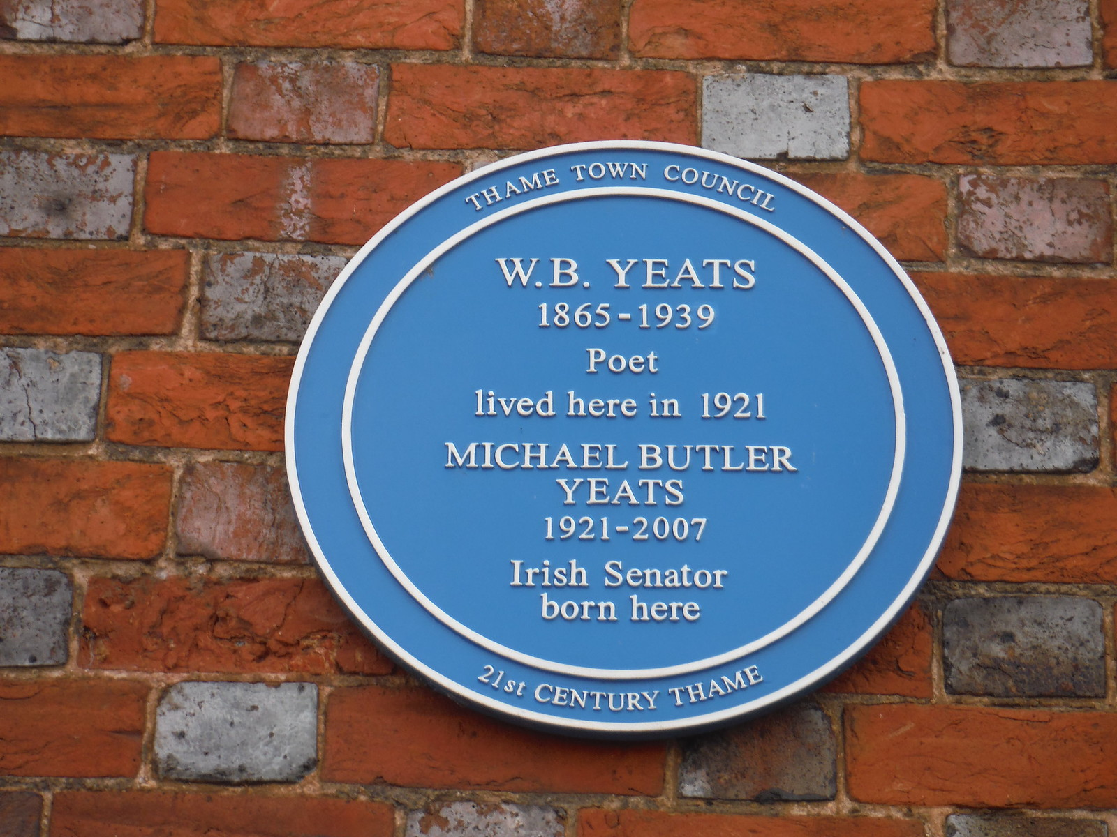 Memorial Plaque for W.B. Yeats, Thame SWC Walk 190 - Thame Circular