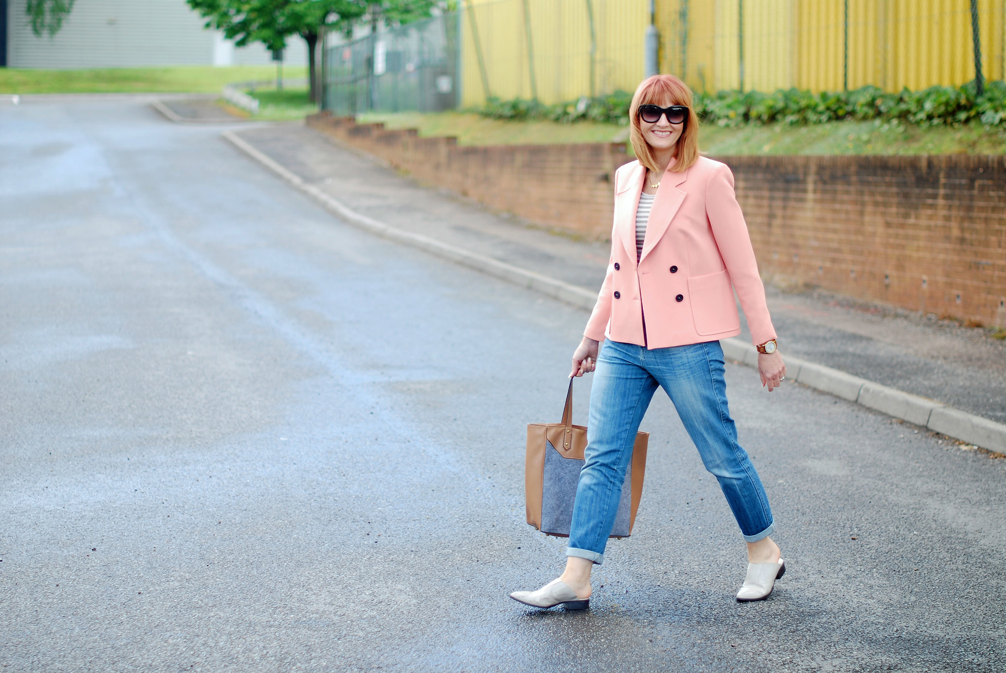 Relaxed Spring/Summer Style: Peach double breasted jacket, Breton striped top, boyfriend jeans | Not Dressed As Lamb