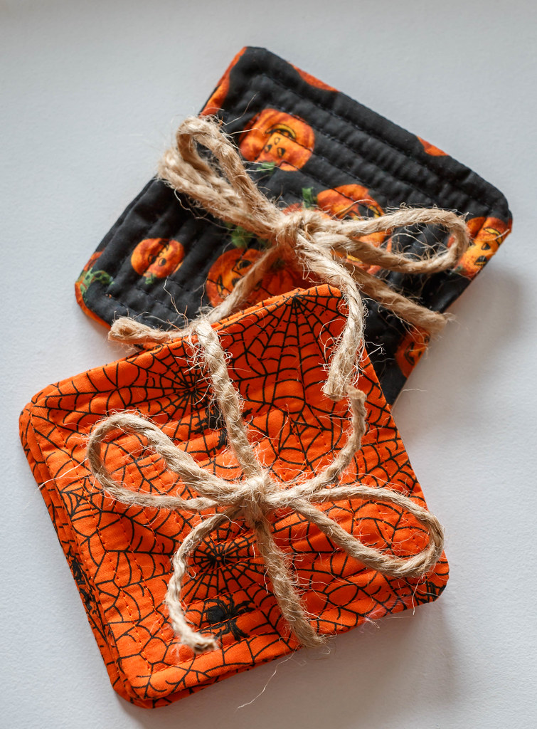 Yes, I really did make Halloween coasters today (May 6th).