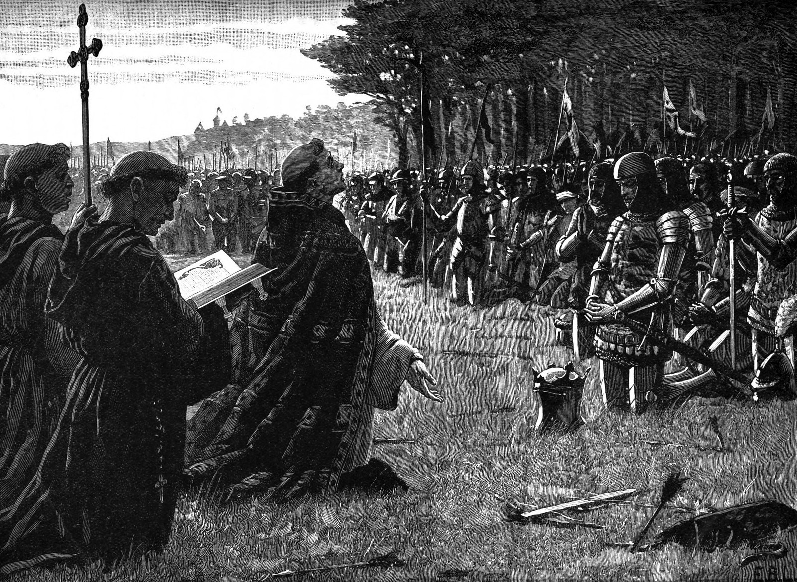 Henry V and his army give thanks on the field of Agincourt